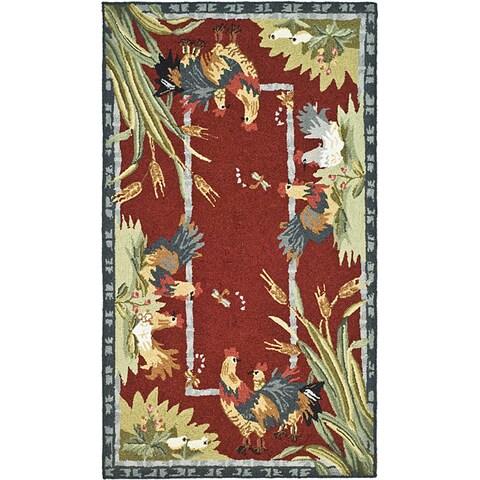 """Safavieh Hand-hooked Roosters Burgundy Wool Rug - 3'9"""" x 5'9"""""""