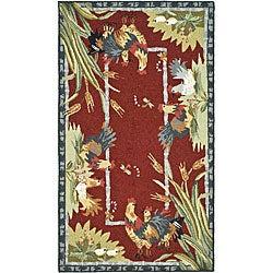 Safavieh Hand-hooked Roosters Burgundy Wool Rug (3'9 x 5'9)