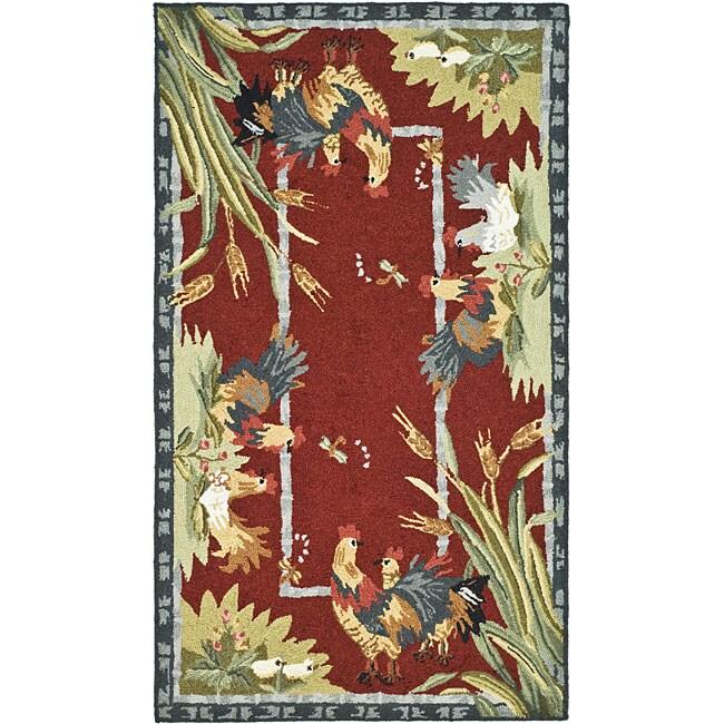 Shop Safavieh Hand-hooked Roosters Burgundy Wool Rug