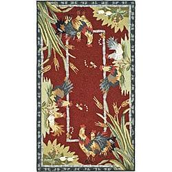 Safavieh Hand-hooked Roosters Burgundy Wool Rug (2'6 x 4')