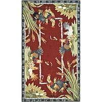 Safavieh Hand-hooked Roosters Burgundy Wool Rug - 2'6 x 4'