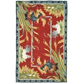 """Safavieh Hand-hooked Roosters Burgundy Wool Rug - 2'6"""" x 4'"""