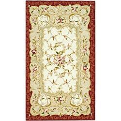 Safavieh Hand-hooked Rectangular Aubusson Ivory/ Burgundy Wool Rug (2'9 x 4'9)