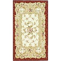 Safavieh Hand-hooked Rectangular Aubusson Ivory/ Burgundy Wool Rug - 2'9 x 4'9