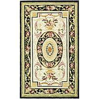 "Safavieh Hand-hooked Aubusson Ivory/ Black Wool Runner (2'6 x 4') - 2'6"" x 4'"