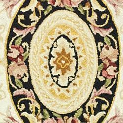 Safavieh Hand-hooked Aubusson Ivory/ Black Wool Rug (3'9 x 5'9) - Thumbnail 2