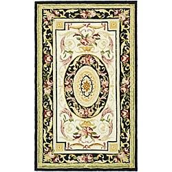Safavieh Hand-hooked Aubusson Ivory/ Black Wool Rug - 3'9' x 5'9' - Thumbnail 0
