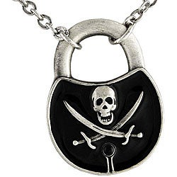 Pewter and Enamel Pirate Padlock Necklace