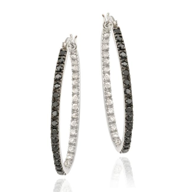 Icz Stonez Sterling Silver Black and White Oval-cut Cubic Zirconia Hoop Earrings