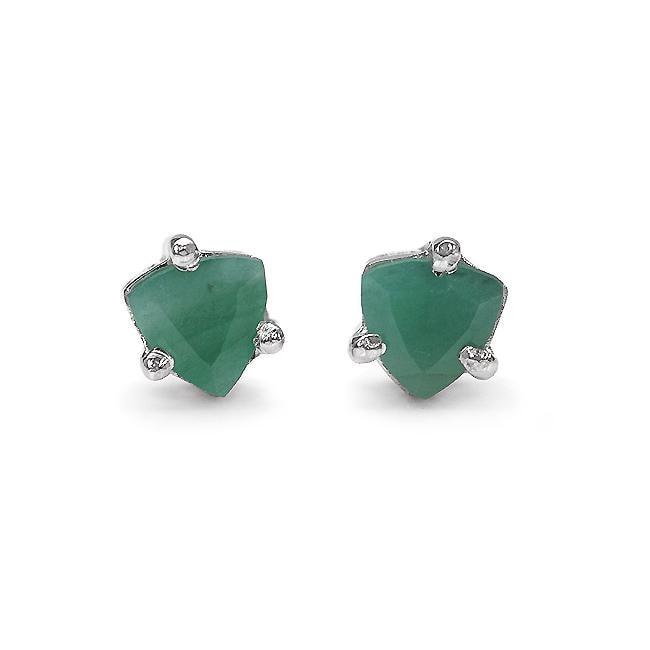Malaika Sterling Silver Trillion-cut Emerald Stud Earrings