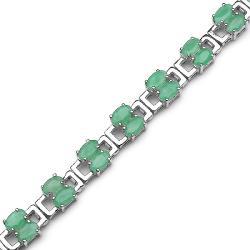 Malaika Sterling Silver Oval-cut Emerald Rectangle Link Bracelet - Thumbnail 1