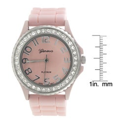Geneva Women's Cubic Zirconia Accent Silicon Watch - Thumbnail 2