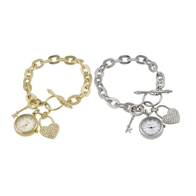 Geneva Platinum Women's Lock and Key Charm Watch