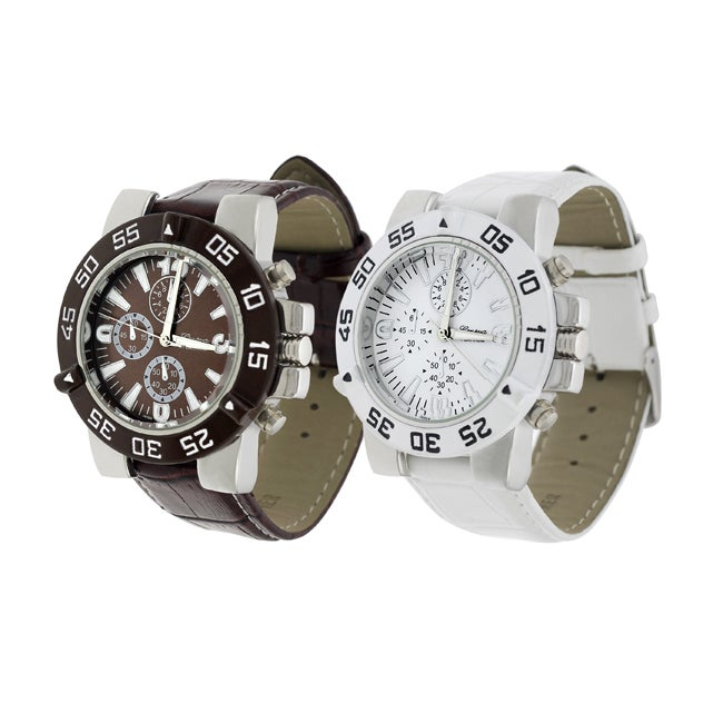 Geneva Platinum Men's Simulated Leather Strap Watch - Thumbnail 0