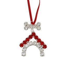 Austrian Crystal Dog House Ornament