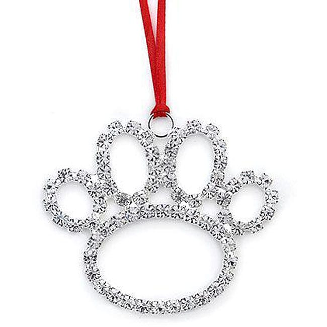 Austrian Crystal Beautiful Dog Paw Decorative Ornament