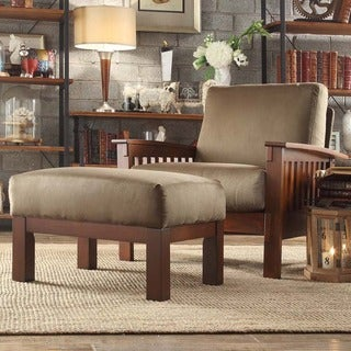TRIBECCA HOME Hills Mission-style Oak/ Olive Chair and Ottoman