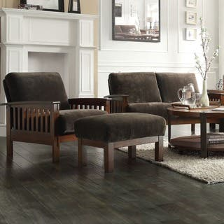 chairs with ottomans for living room. Hills Mission style Oak Chair and Ottoman by iNSPIRE Q Classic  Sets Living Room Chairs For Less Overstock com