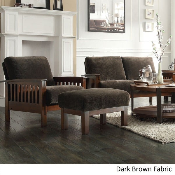 Hills Mission Style Oak Chair And Ottoman By INSPIRE Q Classic   Free  Shipping Today   Overstock.com   12363394 Part 45