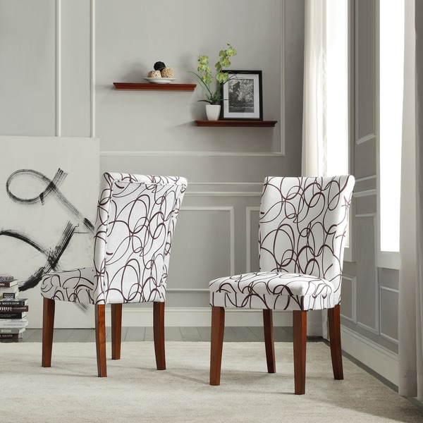 Tribecca Home Chocolate Swirl Print Accent Chairs Set Of