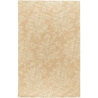 Hand-crafted Solid Beige Damask Mesa Wool Area Rug - 5' x 8'