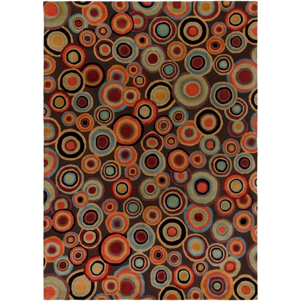 Hand-tufted Contemporary Multi Colored Circles Geometric Wool Current New Zealand Wool Area Rug - 8' x 11'