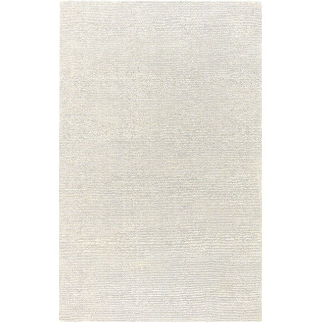 Hand-crafted Solid White Casual Wool Mesa Rug (5' x 8')
