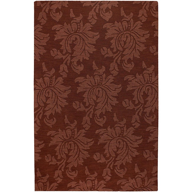Hand-crafted Solid Red Damask Mesa Wool Area Rug (8' x 11') - 8' x 11'
