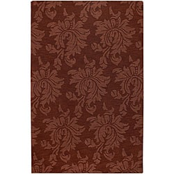 Hand-crafted Solid Red Damask Mesa Wool Area Rug (8' x 11') - 8' x 11' - Thumbnail 0