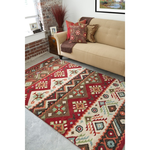 Hand-tufted Red Southwestern Aztec Passion New Zealand