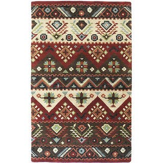 Hand-tufted Red Southwestern Aztec Passion New Zealand Wool Rug (8' x 11')|https://ak1.ostkcdn.com/images/products/4401341/P12363656.jpg?impolicy=medium