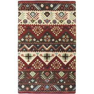 Hand-tufted Red Southwestern Aztec Passion New Zealand Wool Area Rug (8' x 11') - 8' x 11'