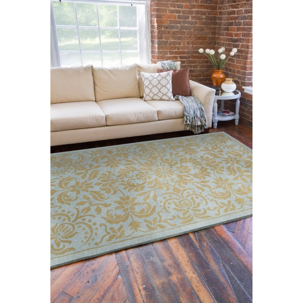 Hand-tufted Oslo Blue Floral New Zealand Wool Rug