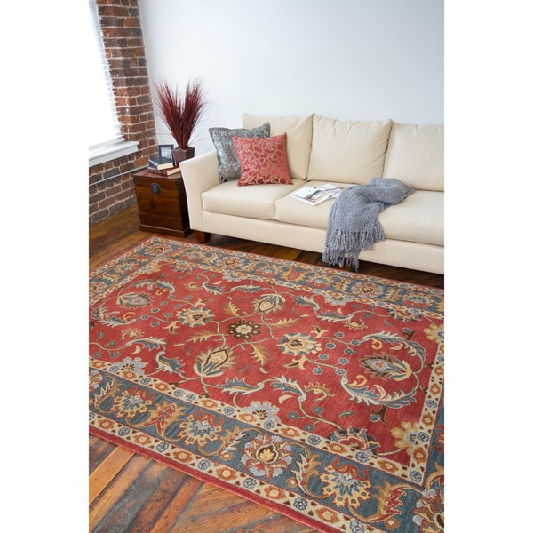 Hand-tufted Coliseum Rust Traditional Border Wool Rug (10' x 14')