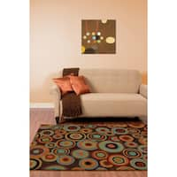 Hand-tufted Contemporary Multi Colored Circles Geometric Current New Zealand Wool Area Rug (5 x 8) - 5' x 8'