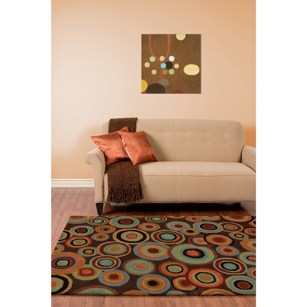 Hand-tufted Contemporary Multi Colored Circles Geometric Current New Zealand Wool Area Rug - 5' x 8'