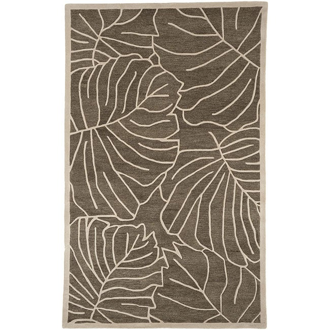 Hand Tufted Spirit Leaf Print New Zealand Wool Area Rug
