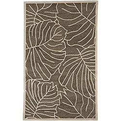 Hand-Tufted Spirit Leaf-Print New Zealand Wool Area Rug - 5' x 8' - Thumbnail 0