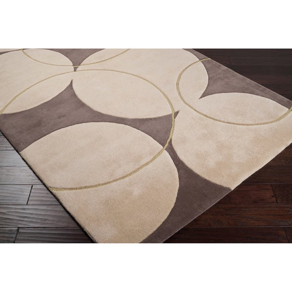 Hand-tufted Beige Contemporary Circles Vougue New Zealand Wool Geometric Rug (5' x 8')