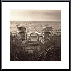 Christine Triebert 'Beach Chairs' Framed Metal Art