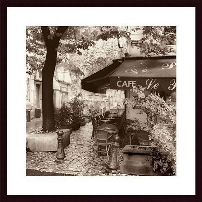Alan Blaustein 'Cafe, Aix-en-Provence' Wood Framed Art Print - Thumbnail 0