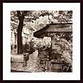 Alan Blaustein 'Cafe, Aix-en-Provence' Wood Framed Art Print