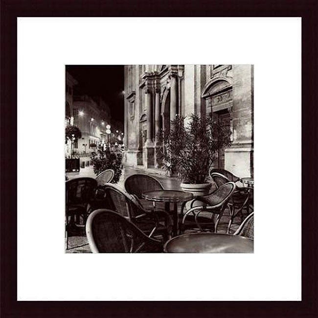 Alan Blaustein 'Cafe, Avignon' Wood Framed Art Print