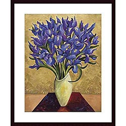 Shelly Bartek 'Blue Iris Bouquet' Wood Framed Art Print