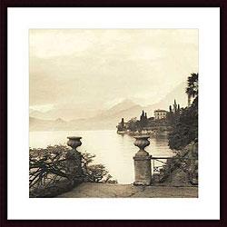 alan blaustein u0027villa monastero lago di comou0027 wood framed art print