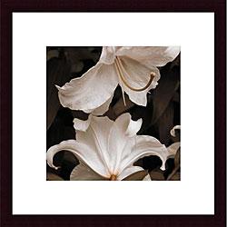 Rebecca Swanson's 'White Lilies' Wood Framed Art