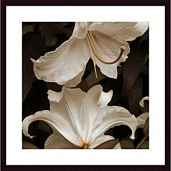 Rebecca Swanson 'White Lilies' Wood Framed Art Print