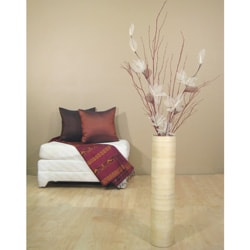 Ivory Lilies/ Red Branches with 24-inch Natural Bamboo Floor Vase - Thumbnail 1