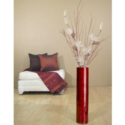 Ivory Lilies/ Red Branches with 24-inch Natural Bamboo Floor Vase - Thumbnail 2