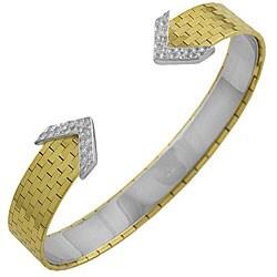14k Two-tone Gold Elegant Cuff Bracelet